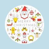 Linea etichetta di Natale delle icone Immagini Stock Libere da Diritti