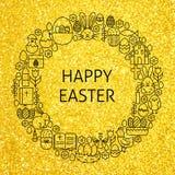 Linea felice Art Icons Set Circle di festa di Pasqua dell'oro Fotografia Stock Libera da Diritti