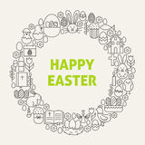 Linea felice Art Icons Set Circle di Pasqua Immagini Stock Libere da Diritti
