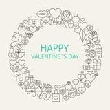 Linea felice Art Icons Set Circle di San Valentino Fotografia Stock Libera da Diritti