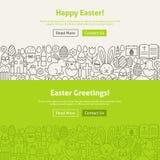 Linea felice Art Web Banners Set di Pasqua Immagini Stock Libere da Diritti