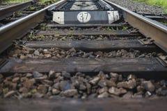 Linea ferroviaria con i suoi elementi, Ucraina fotografia stock libera da diritti