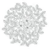 Linea floreale clipart del libro da colorare di Drawning della bella mano Fotografia Stock