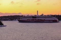 Linea fodera di crociera, tramonto di Viking immagini stock libere da diritti