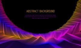 Linea fondo astratto di vettore di arte 3d con la superficie lineare geometrica del terreno del paesaggio cosmico fantastico del  royalty illustrazione gratis