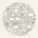Linea forma dei dispositivi e degli aggeggi del cerchio fissata icone Immagine Stock