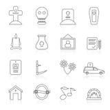 Linea funerale ed icone di sepoltura illustrazione vettoriale