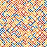 Linea geometrica multicolore Maze Grid Irregular Pattern di Seamlesss di vettore Immagini Stock Libere da Diritti