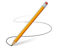 Linea gialla del disegno di matite Immagini Stock