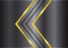 Linea gialla grigio scuro astratta freccia della luce sul vettore futuristico di lusso moderno del fondo di progettazione della m Immagini Stock Libere da Diritti