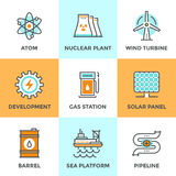 Linea globale icone di fonti di energia messe Immagine Stock Libera da Diritti