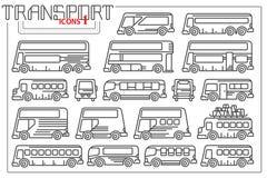 Linea grafico di vettore Insieme del bus delle icone illustrazione vettoriale