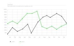Linea grafico semplice - il nero di Infographic, verde Fotografia Stock Libera da Diritti