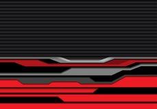 Linea grigia rossa astratta futuristica sul vettore moderno del fondo di tecnologia dell'otturatore di progettazione nera del mod Fotografia Stock Libera da Diritti