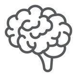 Linea icona, anatomia e neurologia del cervello Fotografia Stock
