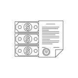 Linea icona dei soldi e del contratto Fotografia Stock