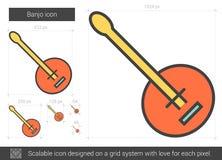 Linea icona del banjo illustrazione di stock
