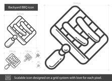 Linea icona del BBQ del cortile Immagine Stock