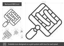 Linea icona del BBQ del cortile Immagine Stock Libera da Diritti