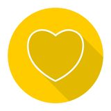 Linea icona del cuore con ombra lunga Fotografie Stock Libere da Diritti