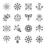 Linea icona del fuoco d'artificio Immagine Stock