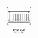 Linea icona del letto di bambino Illustrazione Vettoriale