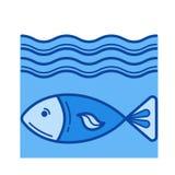 Linea icona del pesce Fotografia Stock Libera da Diritti