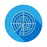 Linea icona del radar con ombra lunga E I segni ed i simboli descrivono l'icona per i siti Web, web design, mobil royalty illustrazione gratis