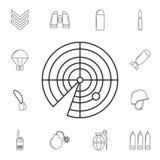 Linea icona del radar Elemento dell'icona popolare dell'esercito Progettazione grafica di qualità premio Segni, icona per i siti  illustrazione di stock