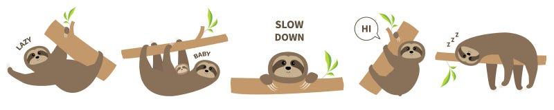 Linea icona dell'insieme di bradipo Madre con il bambino Carattere pigro sveglio di kawaii del fumetto Testo di rallentamento Ani illustrazione vettoriale