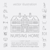 Linea icona della casa di cura Assistenza medica per gli anziani Simboli del vettore della gente più anziana Fotografia Stock Libera da Diritti