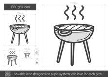 Linea icona della griglia del BBQ Immagine Stock Libera da Diritti