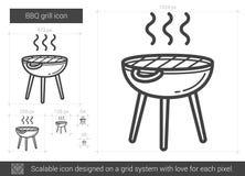 Linea icona della griglia del BBQ Fotografie Stock Libere da Diritti