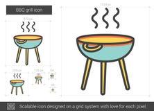 Linea icona della griglia del BBQ Fotografia Stock Libera da Diritti