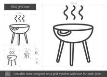 Linea icona della griglia del BBQ Immagini Stock Libere da Diritti