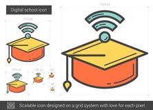 Linea icona della scuola di Digital Immagini Stock Libere da Diritti