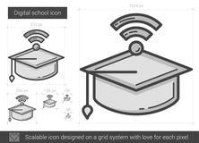 Linea icona della scuola di Digital Fotografie Stock Libere da Diritti