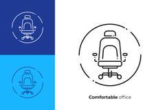 Linea icona della sedia del bracciolo dell'ufficio di vettore di arte illustrazione di stock