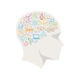Linea icona di concetto di scienza nella testa Immagini Stock Libere da Diritti