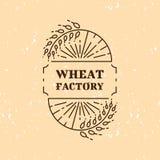Linea icona di logo del campo della fabbrica del grano di arte Immagini Stock Libere da Diritti