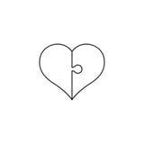 Linea icona di puzzle del cuore di arte Concetto di giorno del ` s del biglietto di S. Valentino della st Royalty Illustrazione gratis