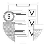 Linea icona di verifica finanziaria Fotografie Stock Libere da Diritti