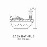 Linea icona di vettore del bagno del bambino Illustrazione di Stock