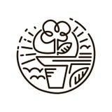 Linea icona di web Fiore in un POT Linea Art Icon Fotografie Stock Libere da Diritti