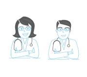 Linea icona, due giovani medici dei professionisti Uomo e donne Qualità di premio immagine stock libera da diritti