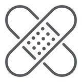 Linea icona, emergenza e medicina del cerotto adesivo Immagine Stock