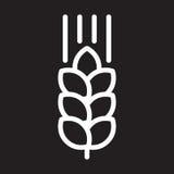 Linea icona, segno bianco del profilo, illustrazione dell'orecchio del grano di vettore illustrazione vettoriale