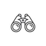 Linea icona, segno del binocolo di vettore del profilo Fotografia Stock Libera da Diritti