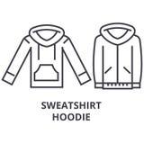 Linea icona, segno del profilo, simbolo lineare, vettore, illustrazione piana di maglia con cappuccio della maglietta felpata illustrazione vettoriale