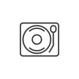Linea icona, segno di vettore del profilo, pittogramma lineare del giradischi della piattaforma girevole del vinile di stile isol Fotografia Stock Libera da Diritti